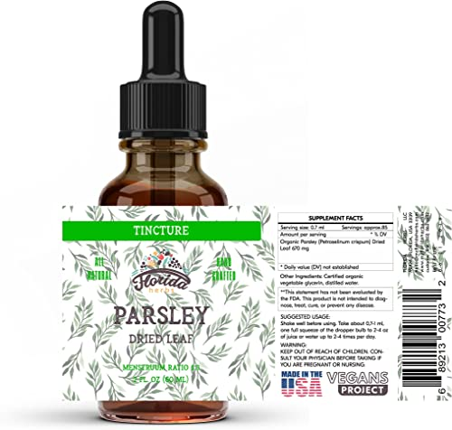 Parsley Leaf Tincture Alcohol-Free Extract, Organic Parsley Petroselinum crispum Dried Leaf, for Detox, Bladder, Kidneys, Liver, Thyroid, Non-GMO in Cold-Pressed Organic Vegetable Glycerin 2 Oz