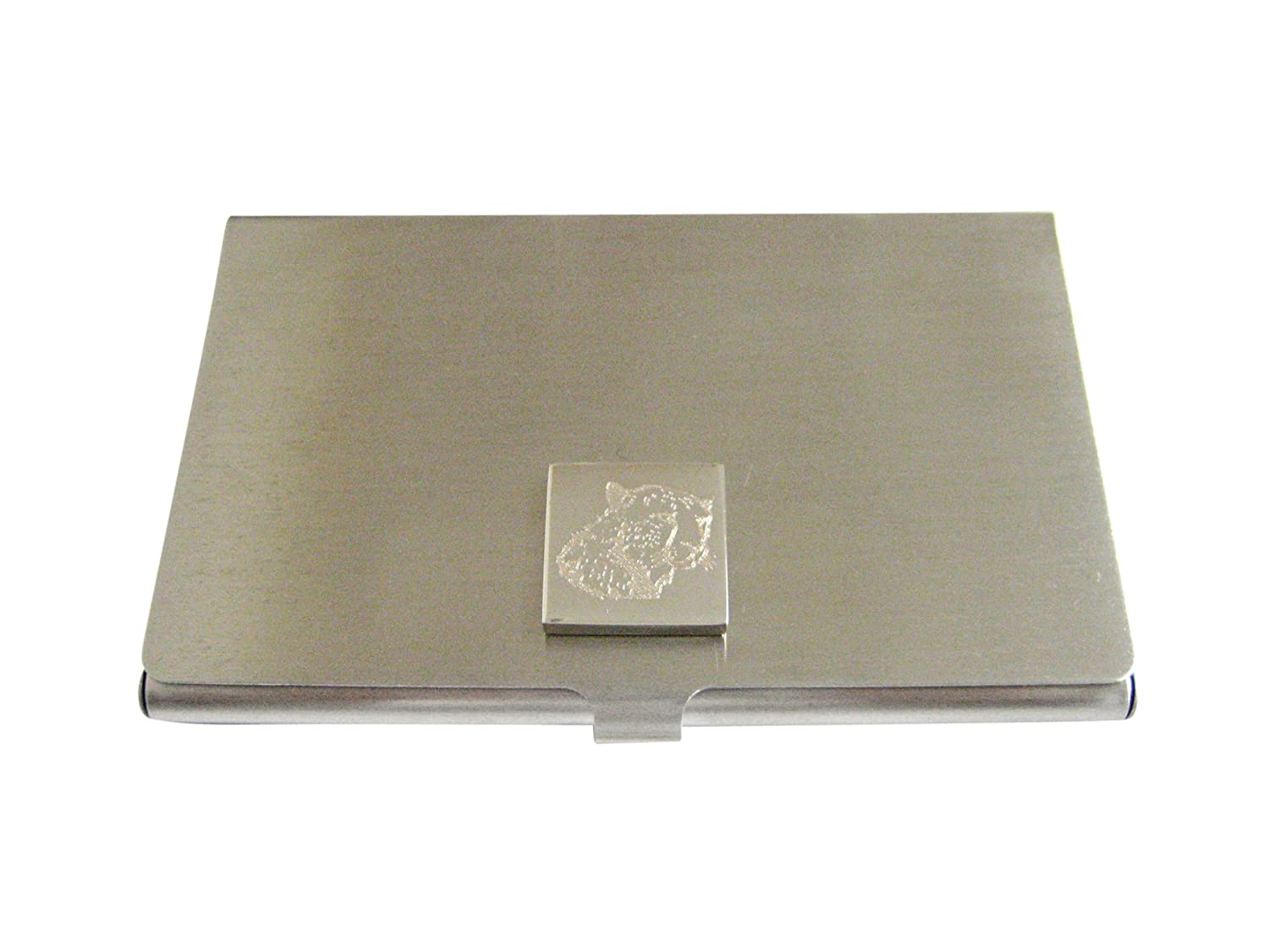 Silver Toned Etched Cheetah Head Business Card Holder