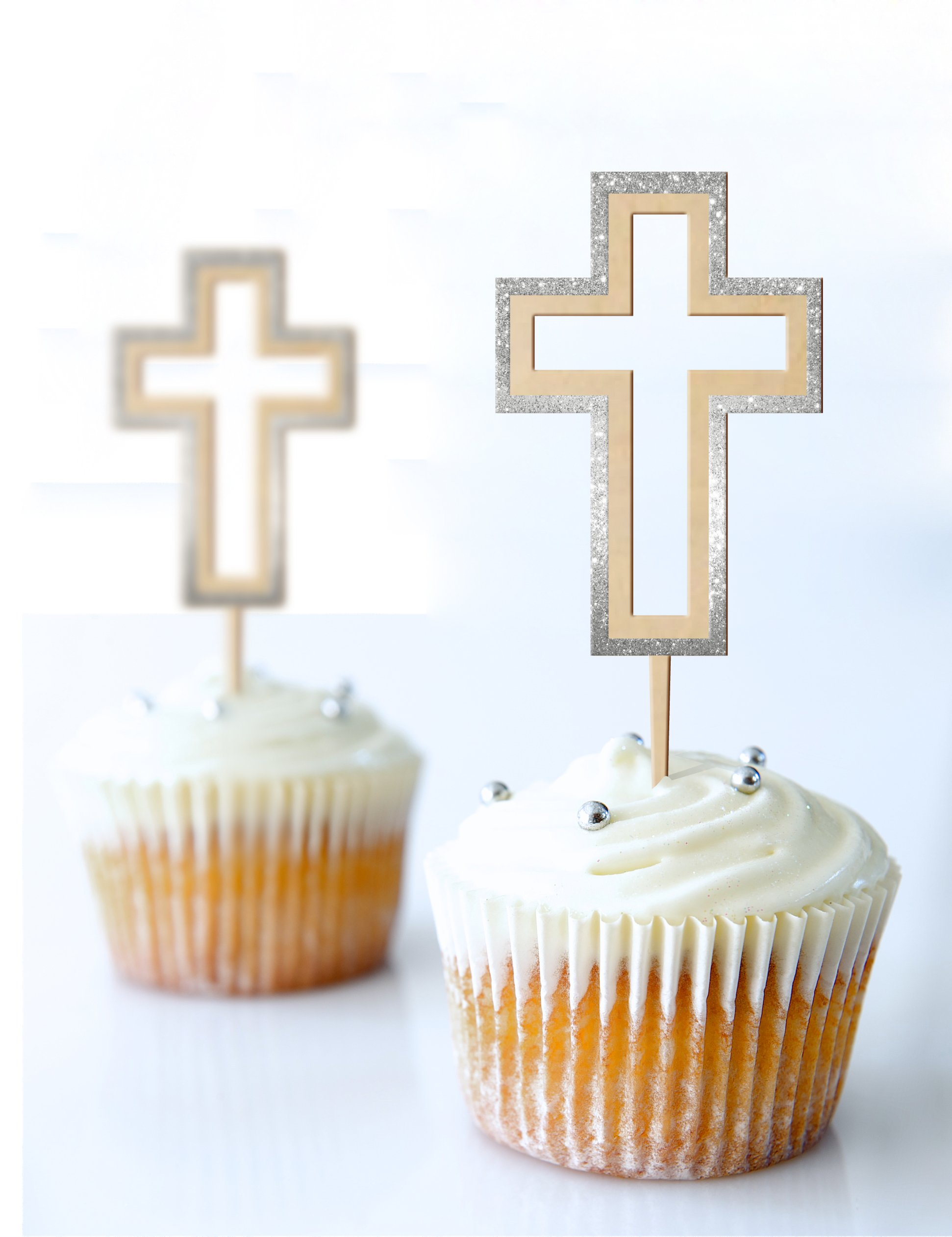 Cup Cake Topper Cross Baptism,Communion 2.3 X 5.7 Inches Laser Cut MDF and Glitter Foamy Silver Set 3 Pc