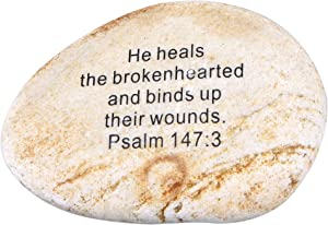 """Extra Large Engraved Inspirational Scripture Biblical Natural Stones Collection - Stone VII : Psalm 147:3 :"""" He Heals The brokenhearted, and binds up Their Wounds"""
