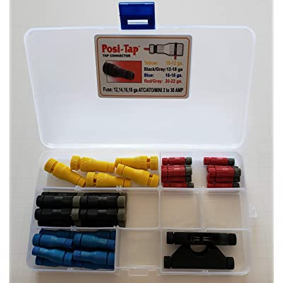 Posi-Tap Connectors Kit- Includes Taps for 22 through 10 Gauge Wires, Plus 2 Fuseholders!: Automotive