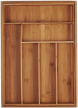 AmazonBasics - Badeja para cubiertos, ampliable, de bambú: Amazon.es: Hogar