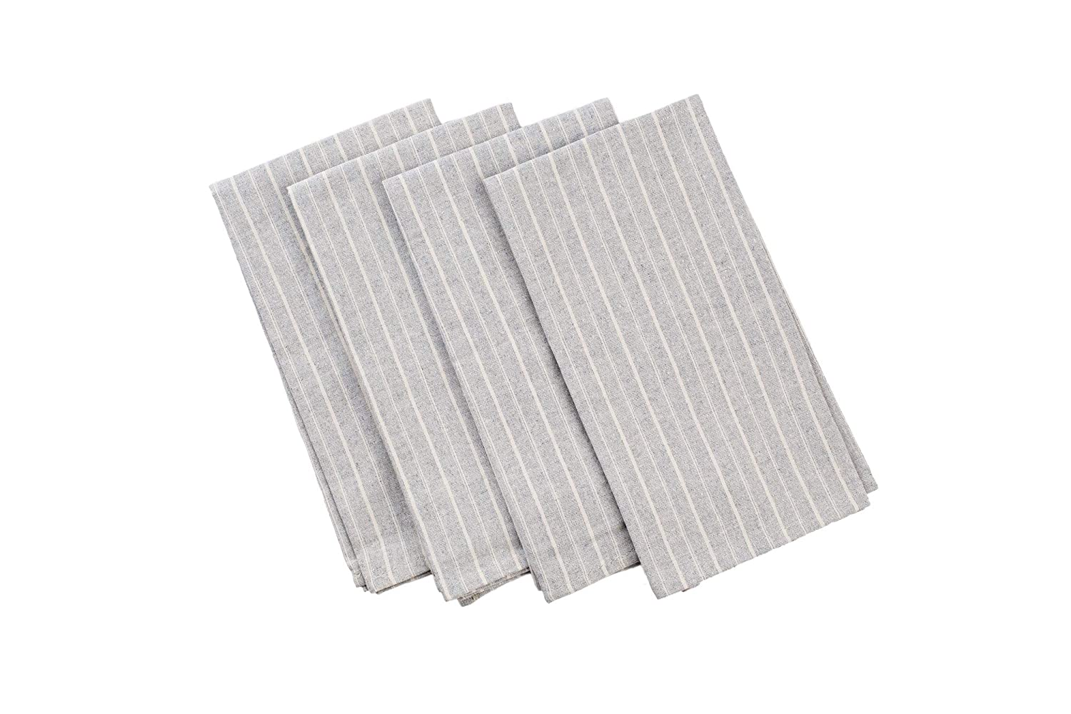 MEEMA Cloth Napkins Set of 4 | Eco Friendly Upcycled Denim and Cotton Napkins | Grey Striped | Everyday Dinner Napkins Cloth, Farmhouse Dining Table, Wedding Napkins, Zero Waste Home