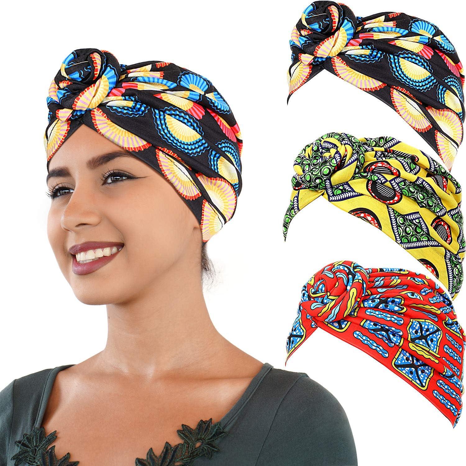 SATINIOR 3 Pezzi Africana Turbante Sciarpa Avvolge Testa Boho Turbante Elastico Annodato Berretto Cappello