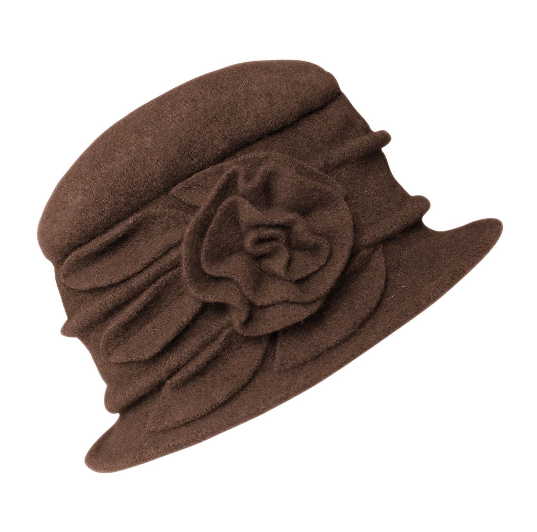 Women's Floral Trimmed Wool Blend Cloche Winter Hat MXD-06-C