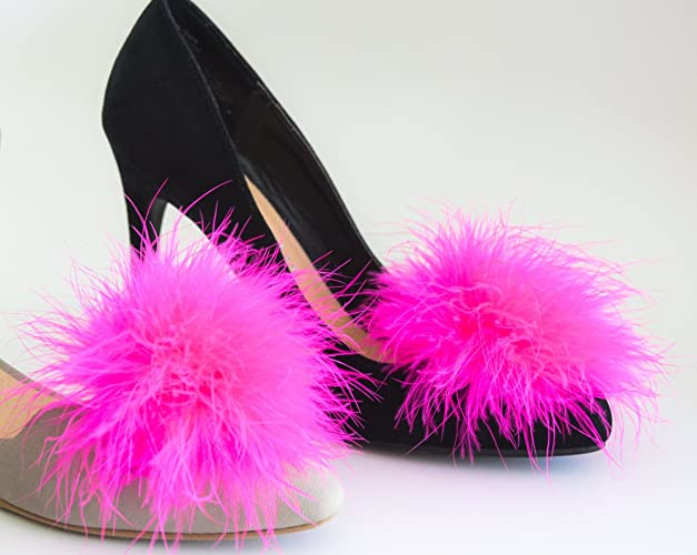 Amazon.com  Detachable HOT PINK Feather Pom Pom Shoe Clips Set of 2 ... 3bdb79323244