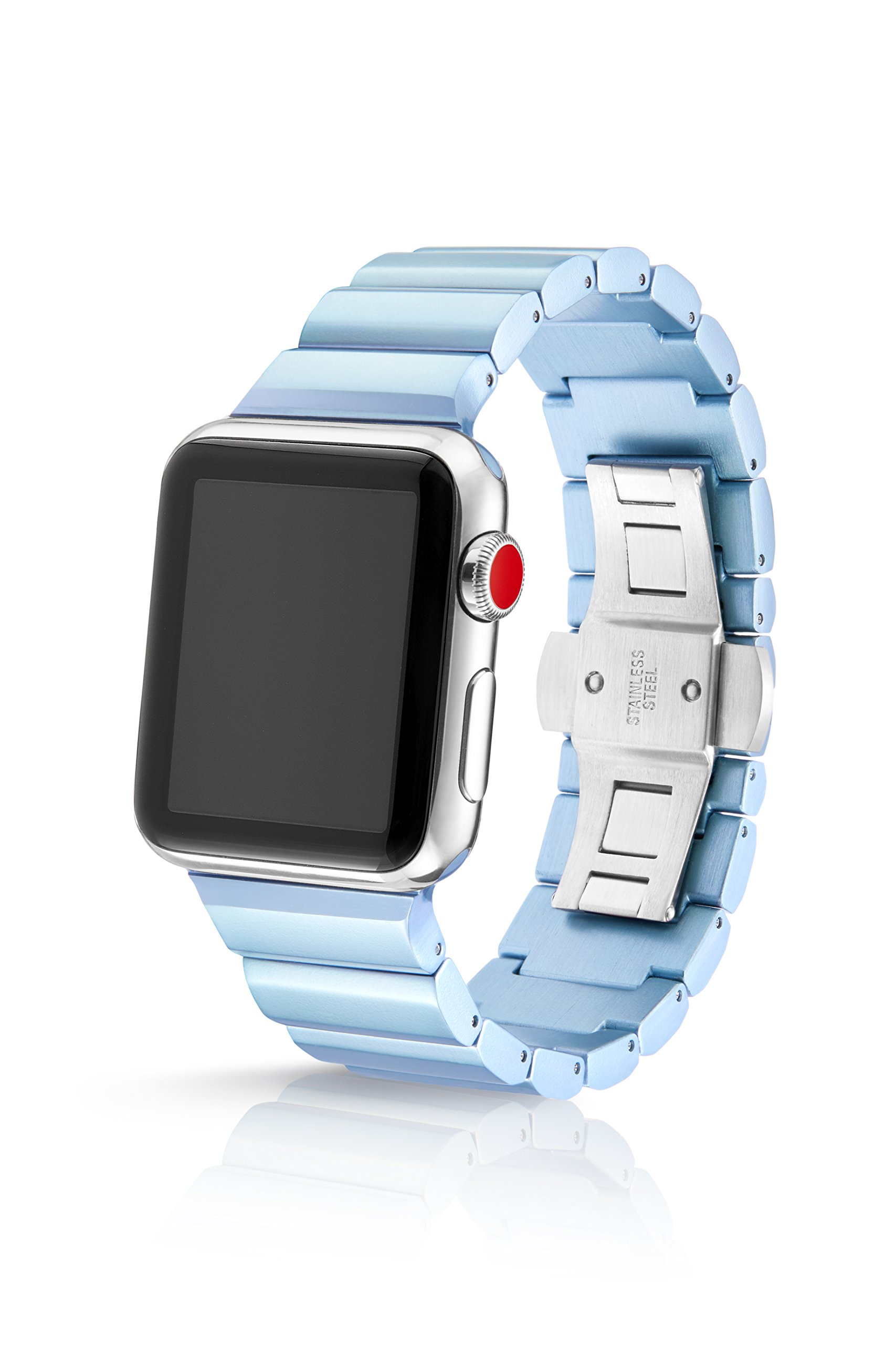 38/40mm JUUK Frost Ligero Premium Watch Band Made for The Apple Watch, Using Aircraft Grade, Hard Anodized 6000 Series Aluminum with a Solid Stainless Steel Butterfly deployant Buckle (semi-Polished)
