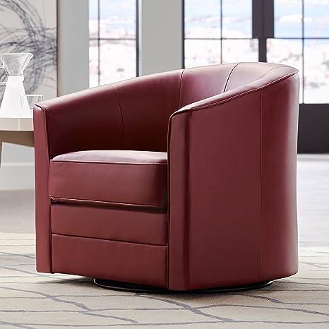 Terrific Keller Scarlet Red Bonded Leather Swivel Club Chair Evergreenethics Interior Chair Design Evergreenethicsorg