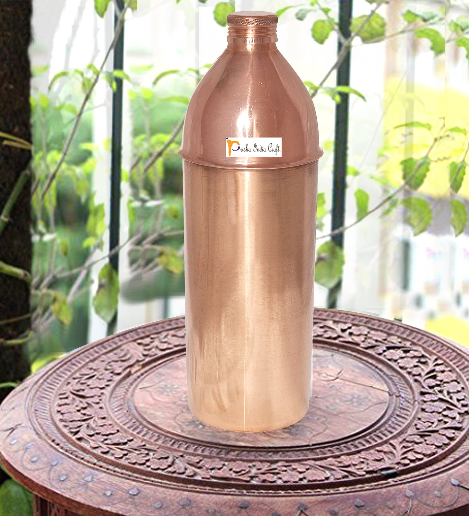 Prisha India Craft Pure Copper Water Bottle/Handmade Copper Vessel for Travel/Insulated Copper Thermos with Ayurvedic Health Benefits, 28.74 Ounce