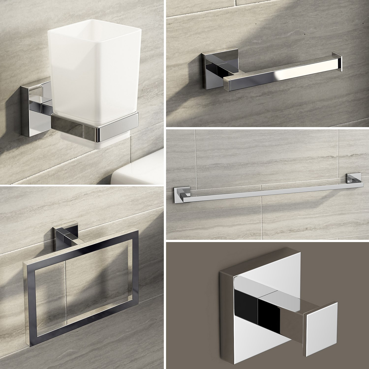 iBathUK Modern Chrome Square Bathroom Accessory 5 Piece Complete Set ACCJS1