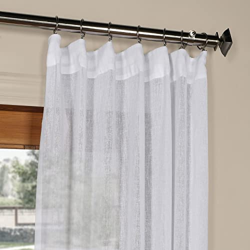HPD Half Price Drapes SHCH-SS07161-120 Solid Faux Linen Sheer Curtain 1 Panel , 50 X 120, Aspen White