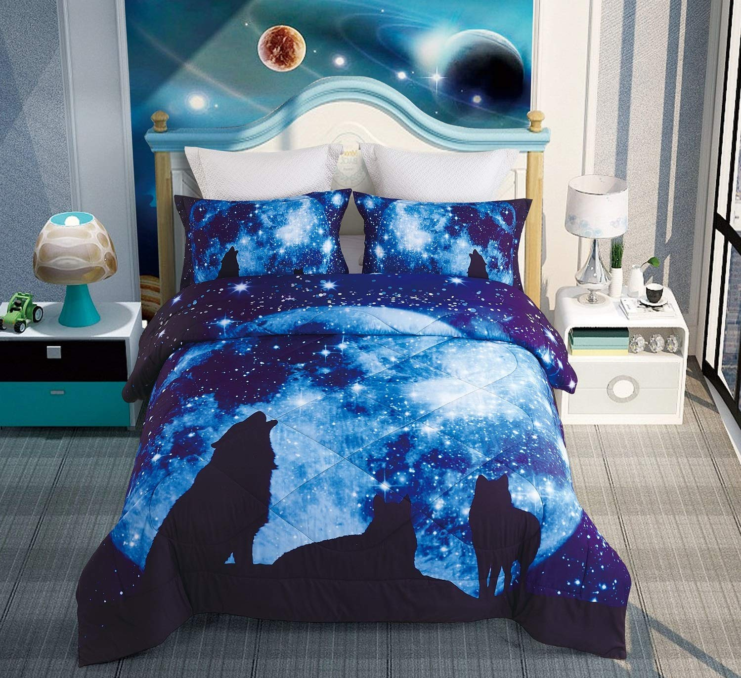 DECMAY 3D Galaxy Wolf Bedding Twin Wolf Blue Moonlight 3 Pieces with 1 Comforter and 2 Pillow Cases Box Stitched Durable Quilt Set for Children and Adults,Twin Size