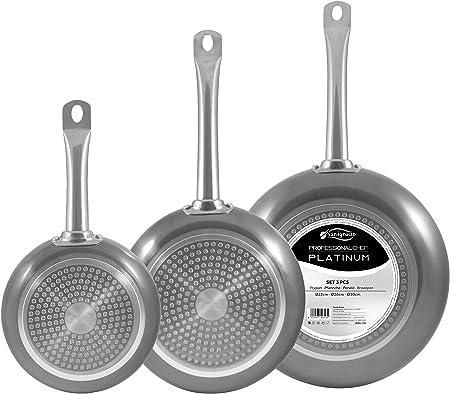 San Ignacio Set 3pc sartenes 22,26,30cm Aluminio prensado Apta para inducción Professional Chef Platinum, Cromado Plateado, 22/26/30 cm diámetro: Amazon.es: Hogar