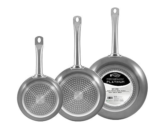 San Ignacio Set 3pc sartenes 22,26,30cm Aluminio prensado Apta para inducción Professional Chef Platinum, Cromado Plateado, 22/26/30 cm diámetro