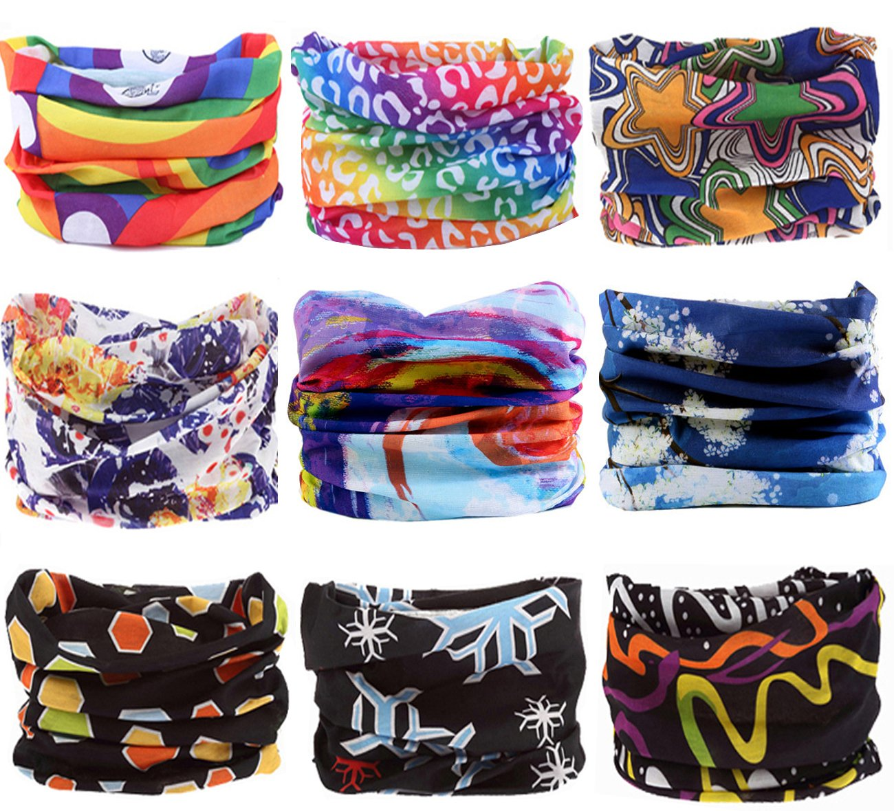 KINGREE 9PCS Headbands, Outdoor Multifunctional Headwear, Sports Magic Scarf, High Elastic Headband with UV Resistance, Athletic Headwrap, Mens Sweatband, Womens Hairband (Dream)