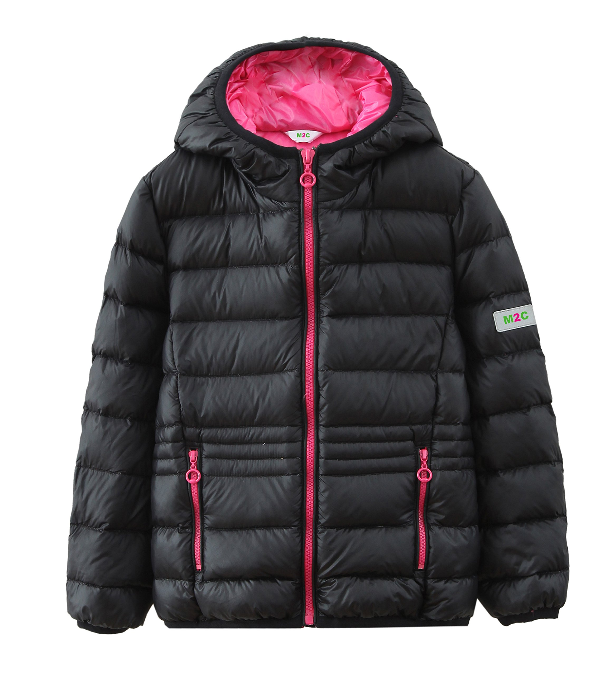 M2C Youth Lightweight Puffer Down Jacket with Hood Medium Black