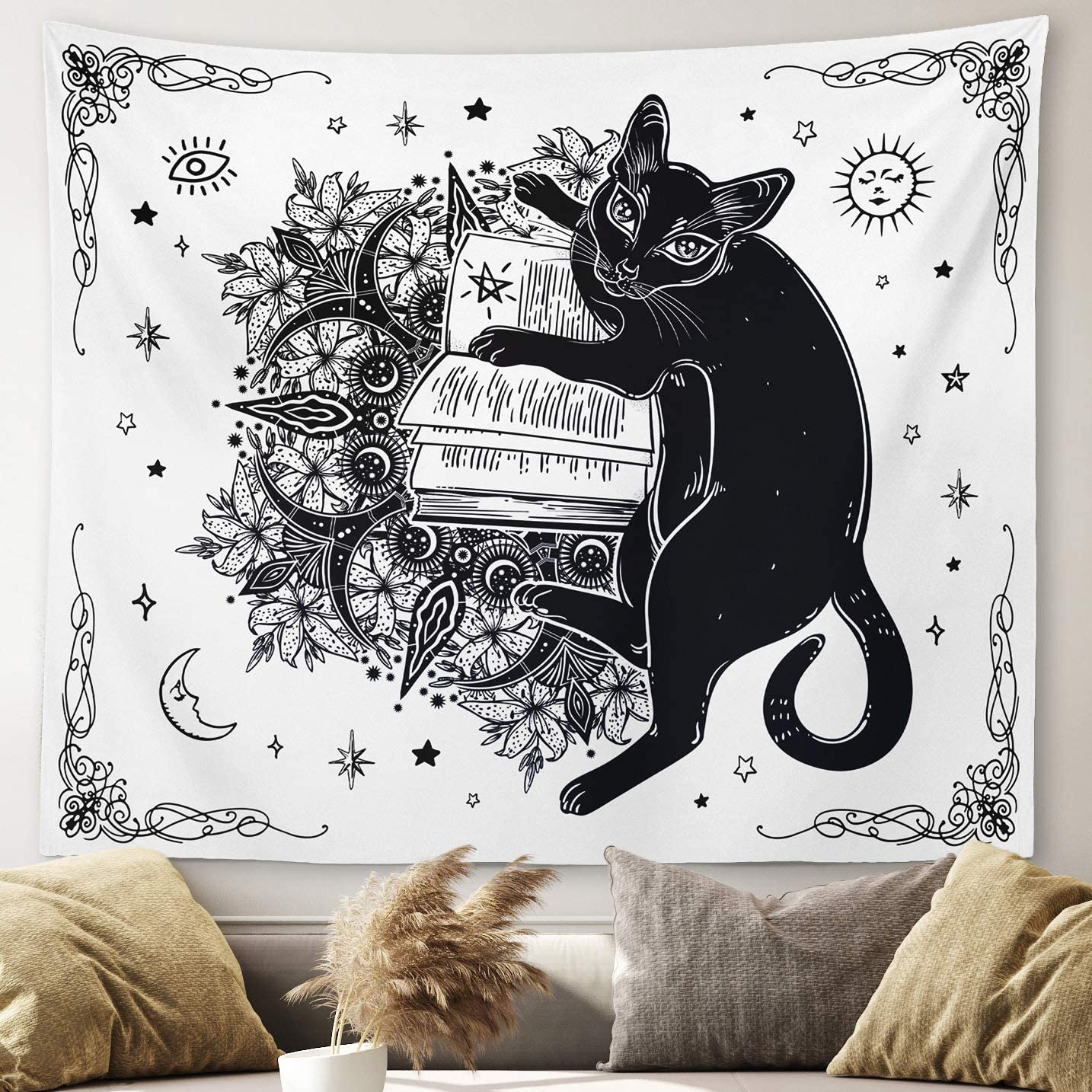 "Gothic Witchy Tapestry Witchcraft Magic Moon Skulls Spells Witch Kit Black and White Wall Hanging Goth Wall Decor Witch Tapestry (Cat, 51""x59"")"