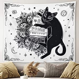"Gothic Witchy Tapestry Witchcraft Magic Moon Skulls Spells Witch Kit Black and White Wall Hanging Goth Wall Decor Witch Tapestry (Cat, 59""x79"")"