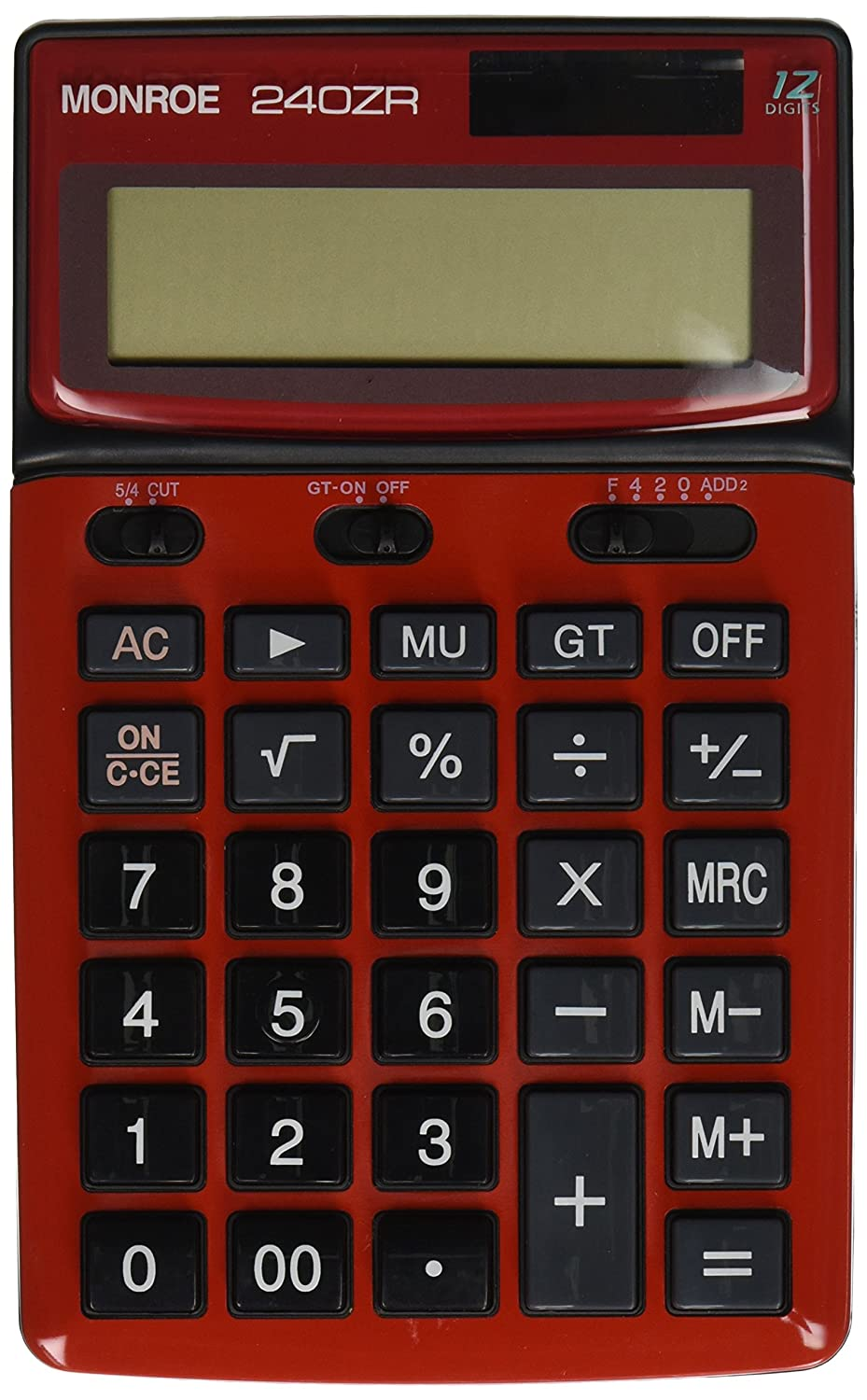Monroe Systems for Business Monroe 240Z Red Handheld Calculator. Commercial-Grade 12-Digit Handheld Battery/Solar Powered Calculator with Large Digits and tilt able Display. 240ZR