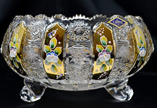 Czech Bohemian Crystal Glass Bowl-Vase 10 -Width Hand Cut Hand Decorated Gold Plated Crystal Gift Vintage Lace Design Elegant Centerpiece Wedding Decor Fruits Desserts Candies Dish