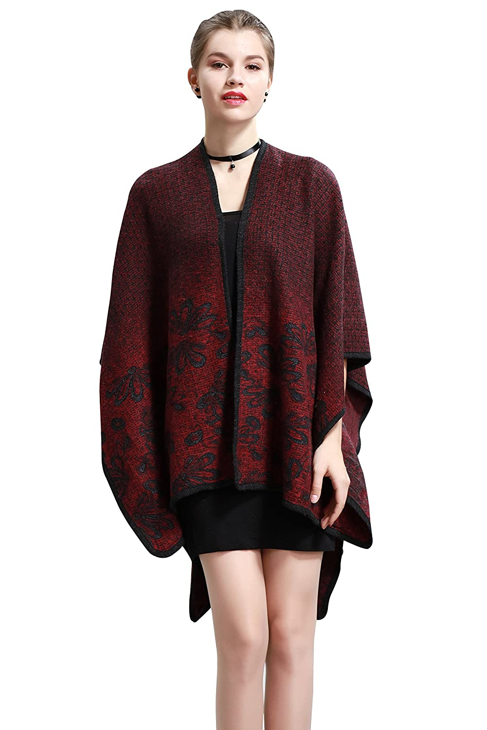 Wincolor Women's Winter Knitted Cashmere Puncho Shawl Capes Cardigans Pashmina Wraps