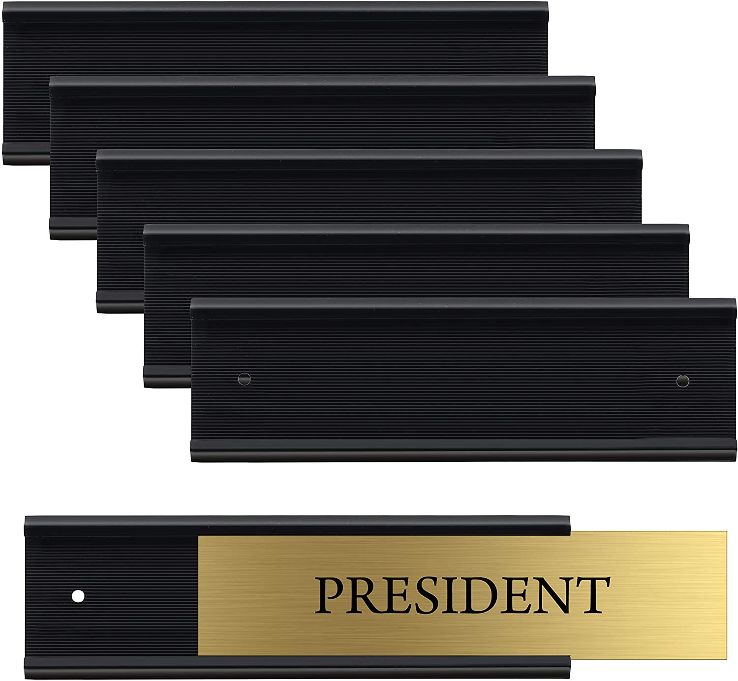 "Set of 6 – Sturdy and Elegant Black Aluminum Wall Mount Name Plate Holder, Office Business Door Sign Holder, 8"" X 2"" - Hardware and Inserts are Not Included"