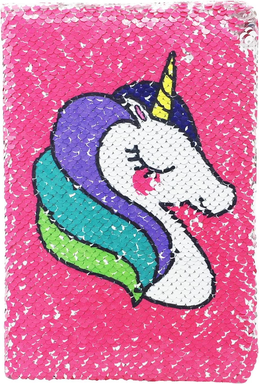 Exerz A5 Cuaderno de Lentejuelas Reversible / Diario de Sirena / Bloc De Notas Mágico/ Diario Mágico para Niños - para Oficina / Escuela / Regalos/ Colorido De Moda - En Unicornio / Plata