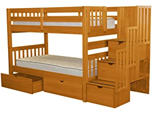 Bedz King Stairway Bunk Beds Twin over Twin with 3 Drawers in the Steps and 2 Under Bed Drawers
