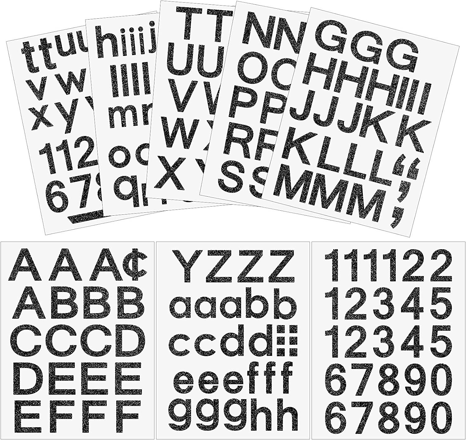 202 Pieces 8 Sheets Self-Adhesive Vinyl Letters Numbers Kit, Mailbox Numbers Sticker for Mailbox, Signs, Window, Door, Cars, Trucks, Home, Business, Address Number (Glitter Black,2 Inch)