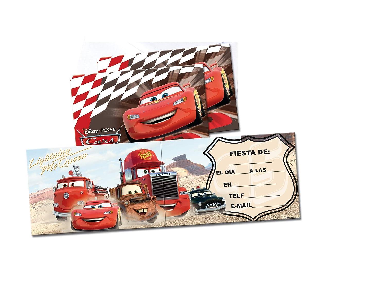 ALMACENESADAN 68345 Pack 6 Invitaciones Disney Cars, sin sobre. Invitaciones para Fiestas y cumpleaños