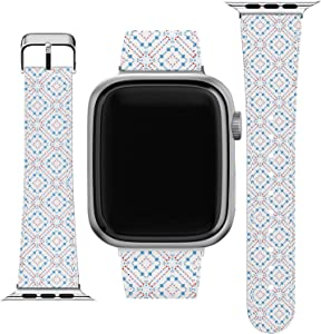 Lex Altern Wristband Compatible for Apple Watch Series 1/2/3/4/5/6/SE Pattern Boho Elegant Simple Bracelet Replacement Strap 38-40-42-44 mm Slim Especial Blue Circle Print PU Leather Band Design