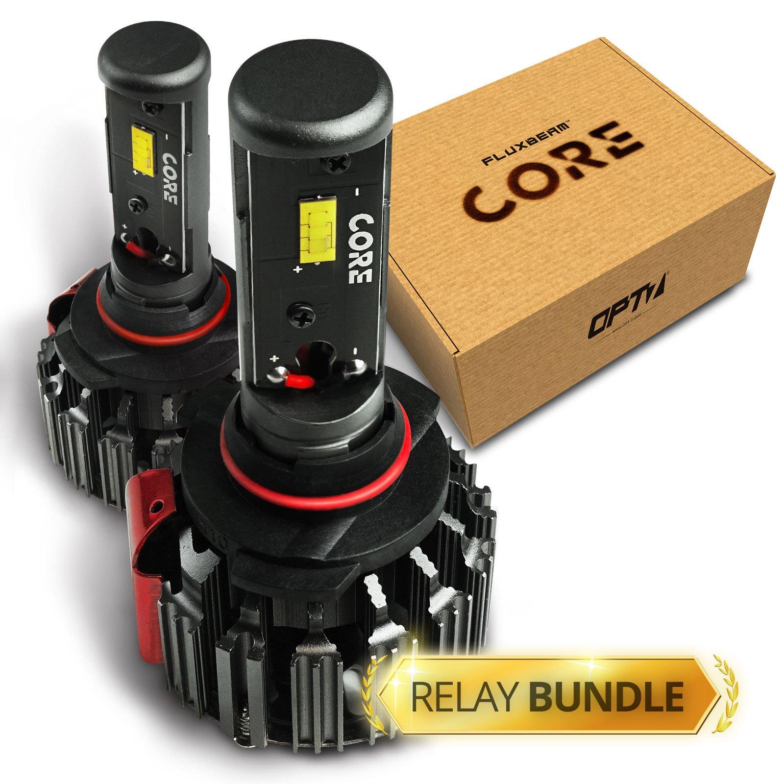 OPT7 FluxBeam CORE 9006 LED Headlight Kit Bulbs w/Relay Bundle - 60w 6,000LM 6K Cool White CREE - 1 Year Warranty
