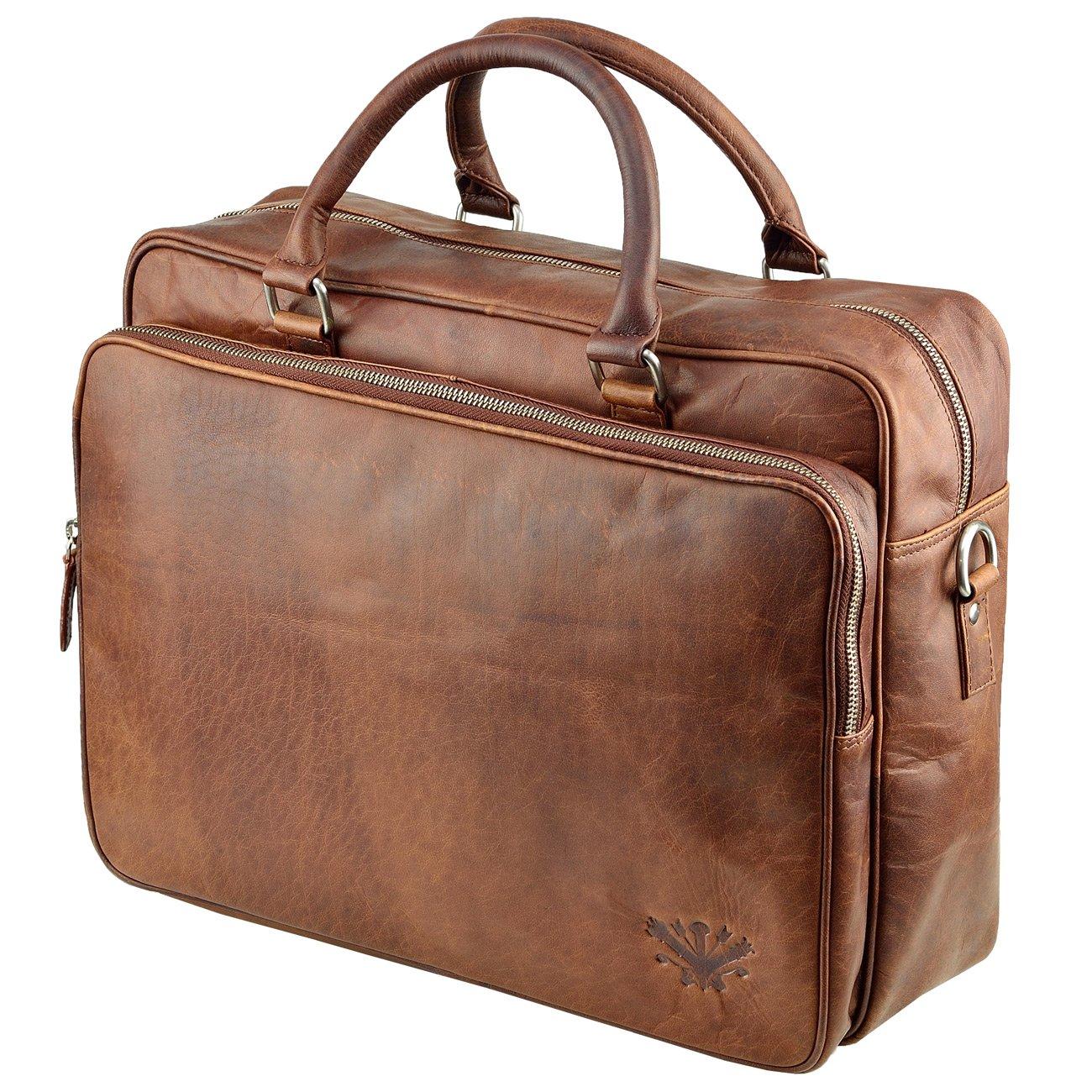 Echt Leder Aktentasche XL Schultertasche Umhängetasche DIN-A4 Laptoptasche 15,6 Messenger bag Cognac MB-9-nb