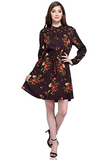dad0ae3f839 Gloria Jeans Women's Floral Print Knee Length A-Line Dress: Amazon.in:  Clothing & Accessories
