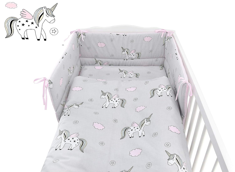 Forest Animals//Grey Back, COT 120X60 5 Pieces Baby Cot Bedding Set for COT 120X60 OR COT Bed 140X70cm Inc -Duvet+Pillow+Duvet Cover+Pillow CASE+ Bumper Mattress Size