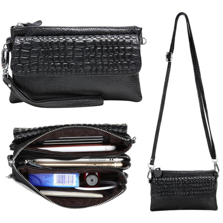 Women Soft Genuine Leather Smartphone Wristlet Purse Cell Phone Cross Body Bag Wallet Clutch Handbag with Card Slots/Shoulder Strap/Wrist Strap - for iPhone 6s Plus (Black)