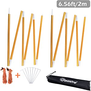 TRIWONDER Tarp Poles Aluminium Alloy Tent Poles Rod Replacement for Tarp Shelter Awning Camping Poles Supporting Rod - Pack of 2