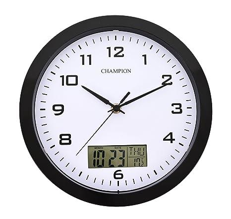 3c55d3278bb234 Champion 25 cm e orologio da parete al quarzo con display LCD con  giorno/data