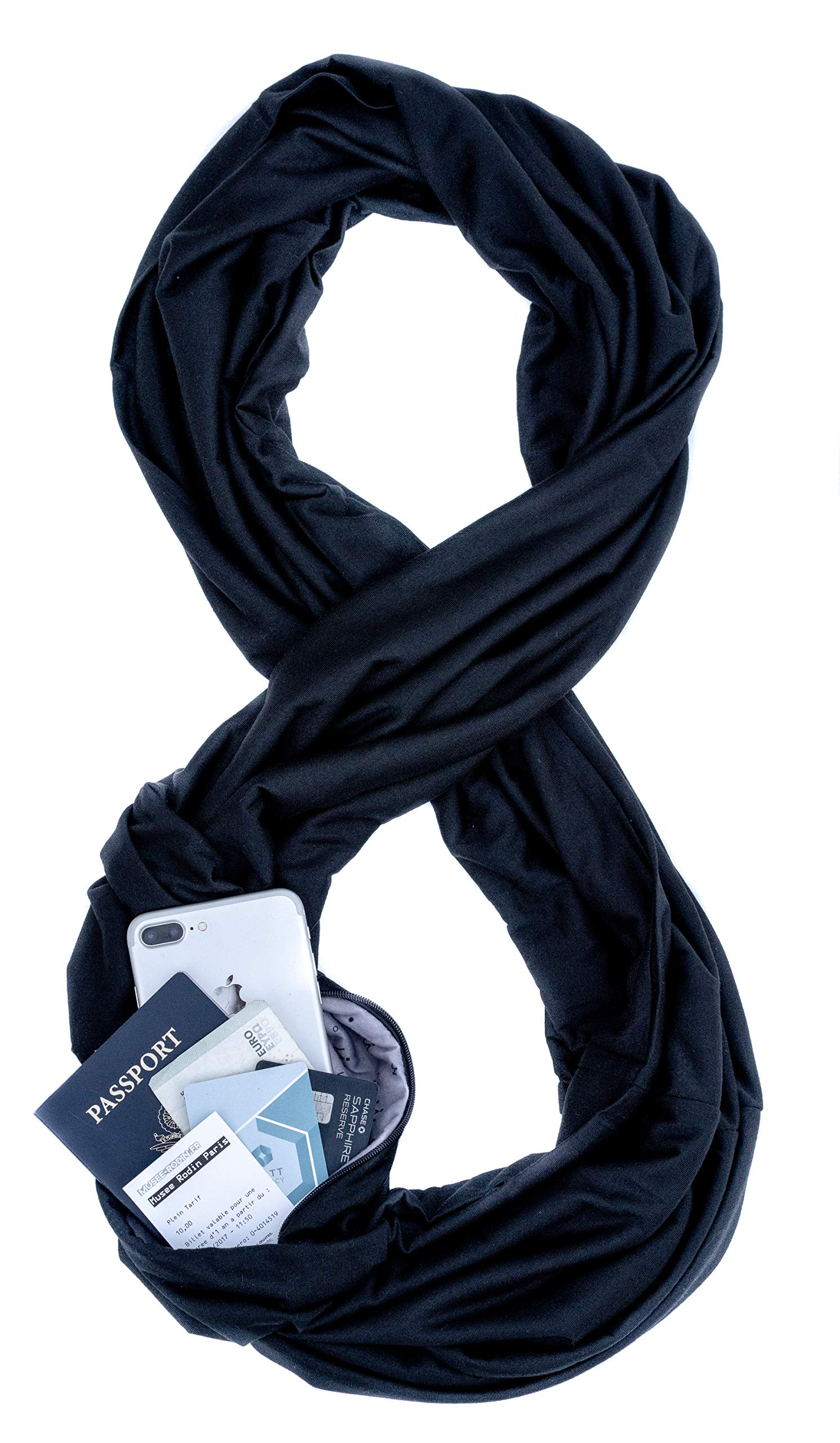 WAYPOINT GOODS Travel Scarf // Infinity Scarf with Hidden Pocket (Onyx) by WAYPOINT GOODS
