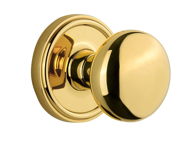 Lifetime Brass Double Dummy Grandeur Georgetown Rosette with Fifth Avenue Knob