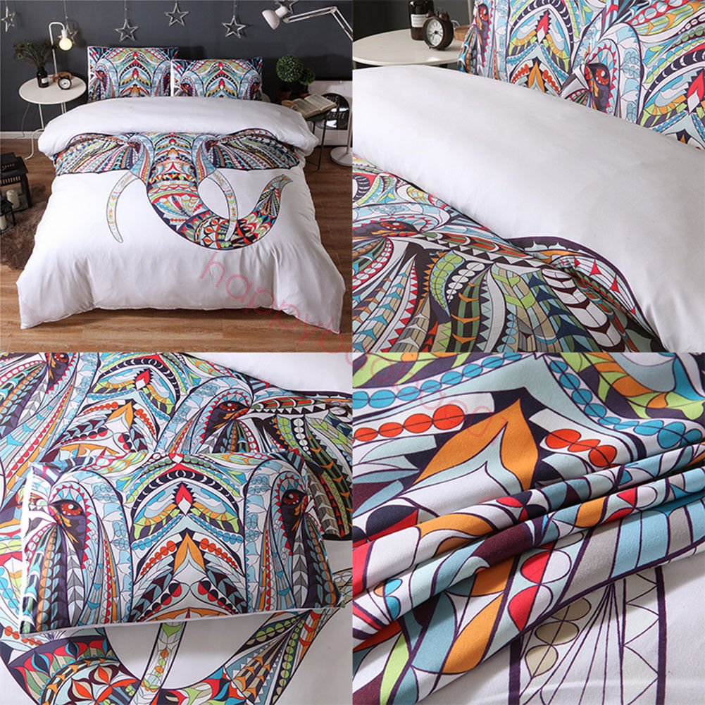 (#005) Mandala Comforter Bedding Cover Colorful Elephant Boho India Duvet Covers Set