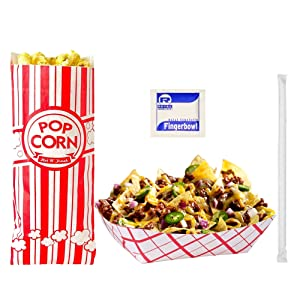 Disposable Paper Food Tray Variety Bundle for Fairs, Festivals, Carnivals, BBQs, and Picnics. Holds Nachos, Fries, Hot Corn Dogs. (Food Trays, Popcorn Bags, Straws, Moist Towelettes)