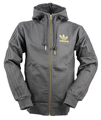 Adidas Originals gris de los hombres con capucha y cremallera completa mezcla de algodón sin forro