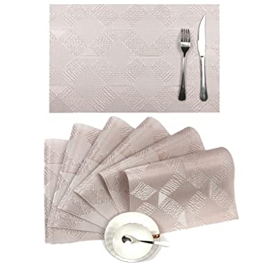 Placemats Set of 6,SHACOS Woven Vinyl PVC Placemats for Dining Table,Heat-Resistant Kitchen Table Mats (6, Silver Pink)