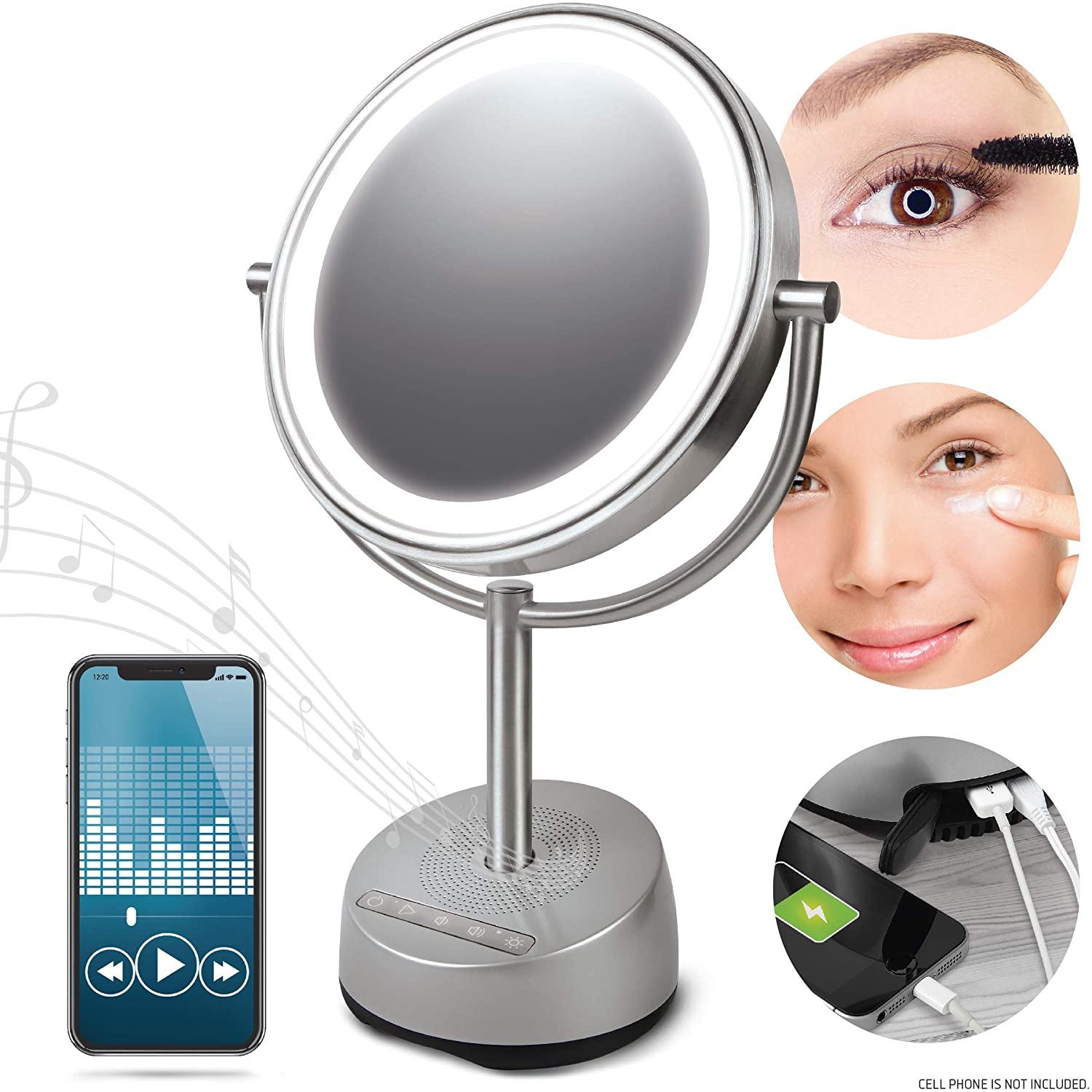 SHARPER IMAGE Bluetooth Vanity Makeup Mirror with Wireless Music Streaming and LED Light, Double-Sided 7x/1x Magnification, Phone Charging Port, Smartphone Compatible with Voice Activation