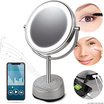 Sharper Image Makeup Mirror.Sharper Image Bluetooth Vanity Makeup Mirror With Wireless Music Streaming And Led Light Double Sided 7x 1x Magnification Phone Charging Port