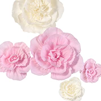 Ling S Moment Large Paper Flower Decorations For Wall 5 X Handcrafted Pink White Crepe Paper Flowers For Baby Nursery Bridal Shower Party Wedding