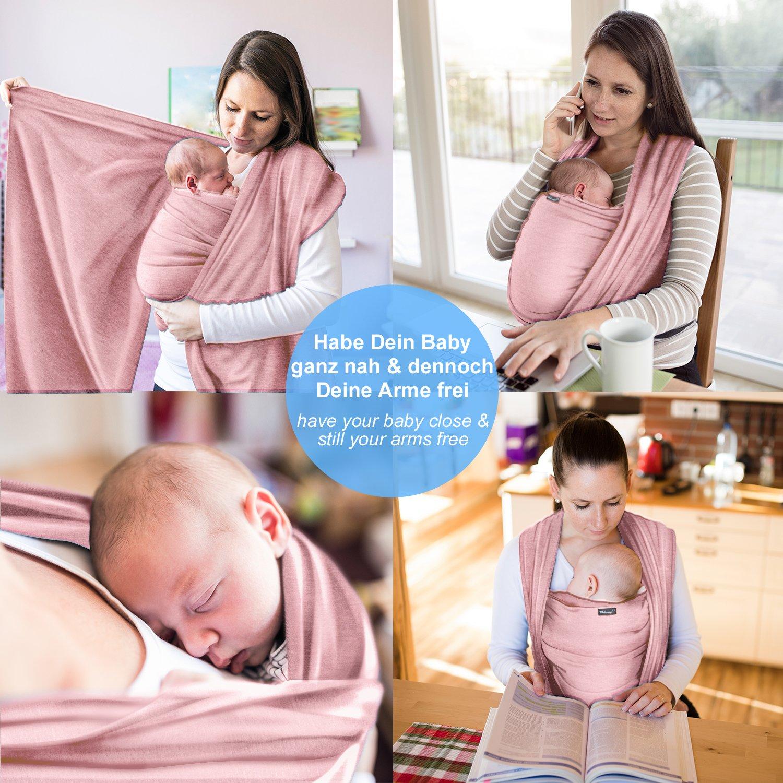 Écharpe de portage 100% coton - rose - porte-bébé de haute qualité pour  nouveau-nés et bébés jusqu à 15 kg - incl. sac de rangement et bavoir bébé  OFFERTS ... 79ac6dddf76
