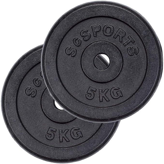 ScSPORTS - Pesas de Disco (Orificio de 30 mm, 2 Unidades de 5 kg ...