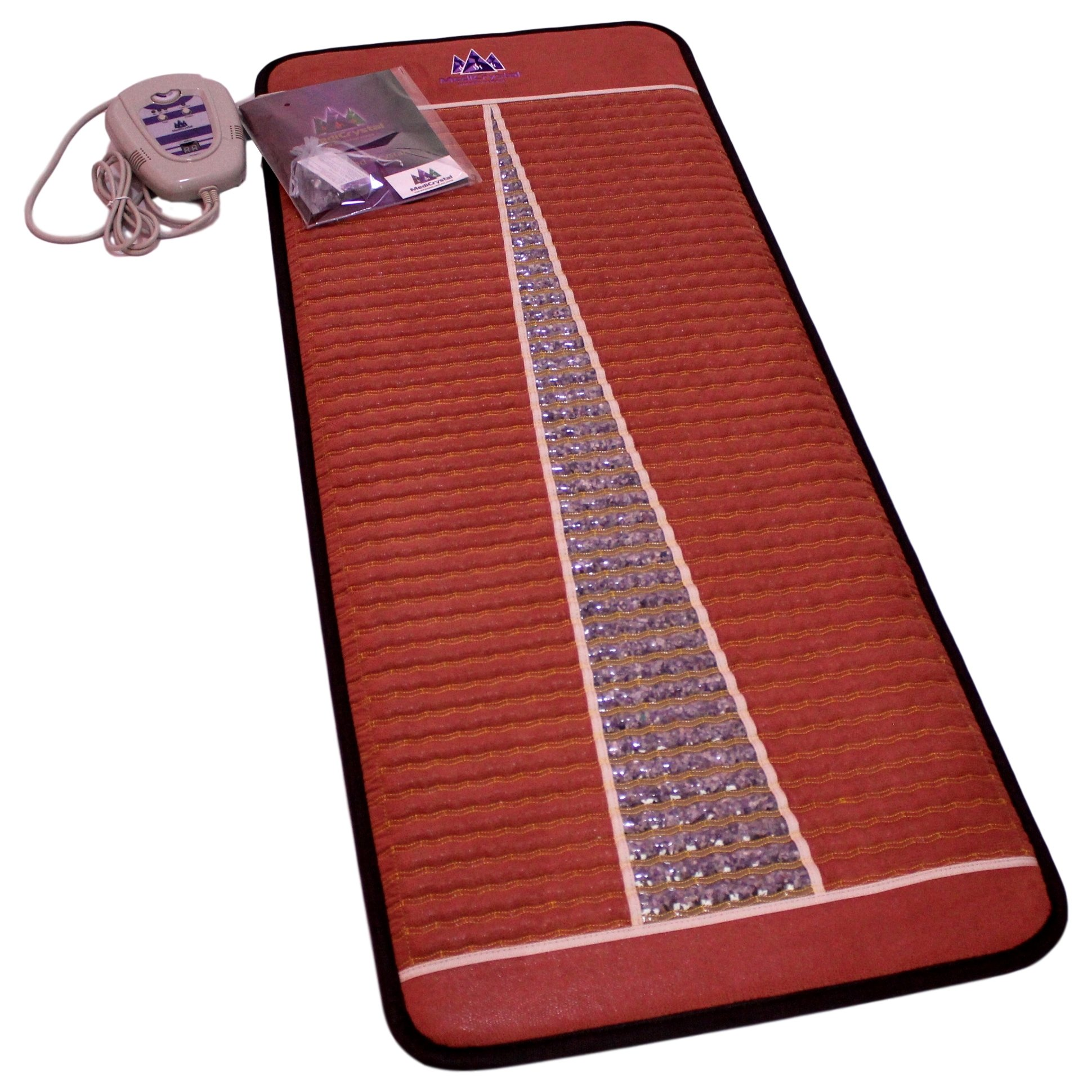 Far Infrared Amethyst Mat Midsize (59''L x 24''W) - Negative Ion - FIR Therapy - Natural Amethyst - FDA Registered Manufacturer - Adjustable Temperature Setting - Hot Crystal Heating Pad - Reddish Brown by MediCrystal